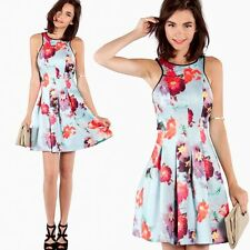NWT Pretty Floral Print Scuba Fit and Flare Sleeveless Tea Cocktail Dress