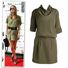 New army green cowl neck rolled sleeves day dress size 6-12