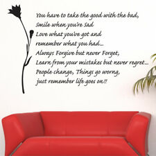 LIFE GOES ON living bed room vinyl quotes mural large wall art stickers quotes