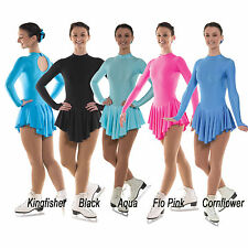 Lycra Ice Skating Dress Dance Girls Pink Blue Black Kingfisher FREE Scrunchie