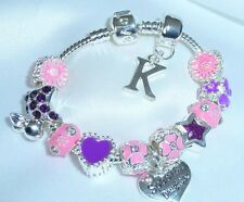 CHILDRENS/GIRLS/KIDS/ PINK & PURPLE INITIAL CHARM BRACELET PERSONALISE GIFT BOX
