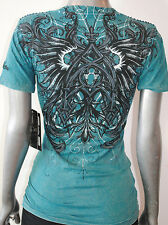 NWT AFFLICTION LIVE FAST womens CRATER baby Vneck graphic Tee AW3146 *SMALL