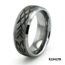 Tungsten Carbide Hand Carved Floral Tribal Promise Wedding Band Ring