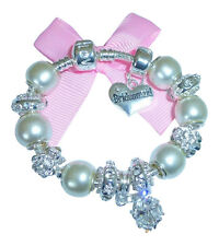 LADIES/GIRLS CHARM BRACELET PERSONALISE PEARL/SILVER WEDDING/BIRTHSTONE APRIL