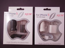 3-in-1 USB KIT- Car Adapter, Wall Adapter & 1M Cable for Apple Lightning / 30PIN