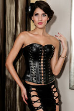 SEXY BLACK CORSET LACE FAUX PVC LEATHER FETISH DRESS BONDAGE SIZE S M L XL XXL