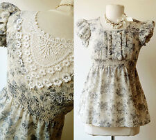 NWT Dusty Blue/Tan Floral Vintage Inspired BOHO Peasant Lace Inset Cotton Top