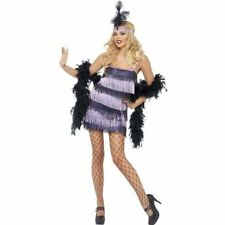 FANCY DRESS FEVER SEXY FLAPPER LADY PURPLE DRESS WITH TASSLES AND HEADPIECE