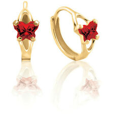 NEW 14K Yellow Gold Bfly CZ Birthstone Butterfly Child Hinged Earrings One Pair