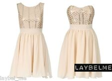 IVORY CREAM CHIFFON SEQUIN PARTY PROM BRIDESMAID EVENING SKATER BANDEAU DRESS