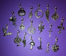 PAGAN CLIP ON CHARMS wiccan wicca pentagram athame witch greenman goth bag zip