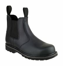 Amblers Steel FS5 Womens Pull On Safety Dealers Boots Textile Leather Slip On