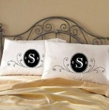 Two (2) Fancy deluxe Monogram bedding white pillow case cover modern unique gift