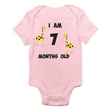 I AM 7 MONTHS OLD - Age / Seven/ Birth / Giraffe / Fun Themed Baby Grow / Suit