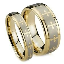 Gold Plated Tungsten Wedding Rings, Matching Wedding Bands with Crosses 8MM, 6MM