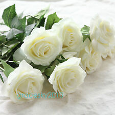 10-50 Head Real Touch Latex Rose Flowers For wedding Bouquet Decoration 8 Colors