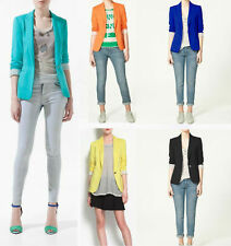 New Lady's Candy Colors Slim Casual One Button Tunic Office Jacket Blazer XS-L