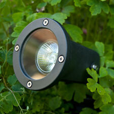 Outdoor Garden Mains Ground Spike Black Spotlight With 50w Mains Halogen Bulb