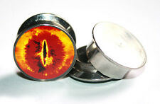 Pair Of  Eye of Sauron Stainless Steel Ear Gauge Tunnel Plug Expander Stretcher