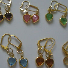 Hearts 3 Colors Earrings Gold Plated Leverback Made  With Swarovski Crystals