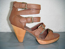 Ladies Ex Chainstore Tan Brown High Heel Strappy Shoes.  Sizes 5, 6, 7 Remaining