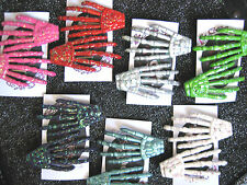 GLITTER SKELETON HAND HAIR CLIPS CHOOSE YOUR COLOUR / ROCKABILLY  GOTH