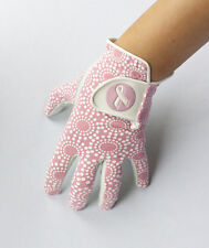 LADIES FULL CABRETTA LEATHER GOLF GLOVE WITH PINK/WHITE PATTERN