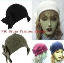 D&Y 100% Wool 1920s Style Winter Cloche Bucket Bow Church Fashion Hat (U.S Ship)