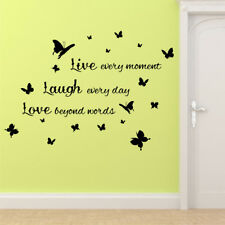 LIVE LAUGH LOVE BUTTERFLY wall sticker?bedroom decal stickers vinyl?art quote