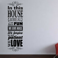 IN THIS HOUSE wall quote family sticker decal large quotes rules love vinyl home