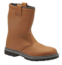 STEEL TOE CAP SAFETY WORK LINED RIGGER BOOTS TAN RIGGER BOOTS FREE P&P