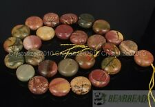 "Natural Picasso Jasper Gemstone Round Coin 14mm Loose Beads 15"" Jewelry Making"
