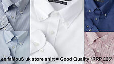 Mens Shirt PURE COTTON Button-Down Collar QUICK IRON Long Sleeve