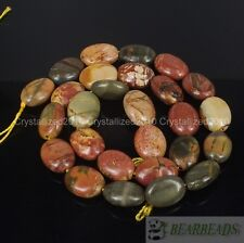 "Natural Picasso Jasper Gemstone 11x15mm Free Formed Oval Loose Beads 15"" Strand"