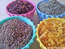 Various Dried Flowers- chamomile, heather, lavender, marigold, rose buds and etc