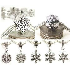Christmas Snowflake Dangle Large Hole Slider Bead for European Charm Bracelet