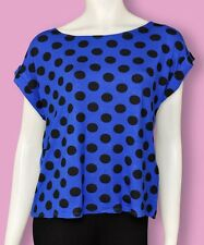 Womens Orsay T Shirt Top Turn Up Sleeve Dark Blue - Polka Dots XSmall to Large