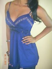 VERY SEXY NAVY BLUE LOW CUT CLEAVAGE BABYDOLL EMPIRE WAIST TOP TUNIC METALLIC