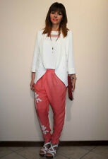 NEW ZARA 2013 COLLECTION WHITE RED FLOWING PRINTED TROUSERS PANTS ALL SIZES