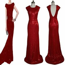 Ladies Christmas Red Sequins tail Open Back long formal evening gown prom Dress@
