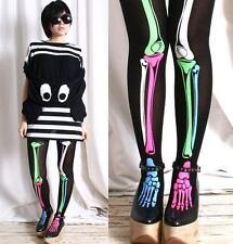 Punk Rock EMO Halloween Ghost Skeleton Electric NEON Bone X Ray Pantyhose Tights