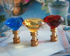 "SET OF 2 LEAD GLASS CRYSTAL DIAMOND - LAMP SHADE FINIAL - 2-1/4"" Tall"