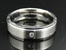 Mens Shiny Stainless Steel 316 Diamond Wedding Engagement Band Ring 6 mm