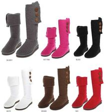 Womens Rib Knit Sweater Crochet Boots 6 Colors Available Sz. 6-11