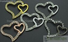 10Pcs Side Ways Crystal Rhinestones Double Heart Bracelet Connector Charm Beads
