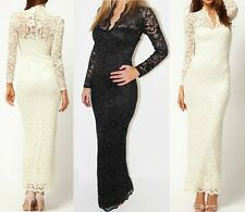 1PC Sexy Womens V neck Long Sleeve Floral Maxi Lace Evening Wedding Slim Dress