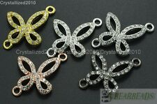 10Pcs Side Ways Crystal Rhinestones Butterfly Bracelet Connector Charm Beads