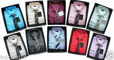 BOYS SHIRT & TIE SET DEVICE FORMAL SMART SHIRT LONG SLEEVES AGES 1YR UP TO 15YRS