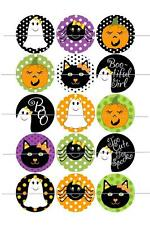 """1"""" ONE INCH PRE CUT HALLOWEEN BOTTLE CAP IMAGES CUPCAKE TOPPER SCRAPBOOKING"""