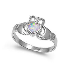 Silver Silver Ring W/ Lab Opal -Claddagh - White Opal Product Code: RO150121